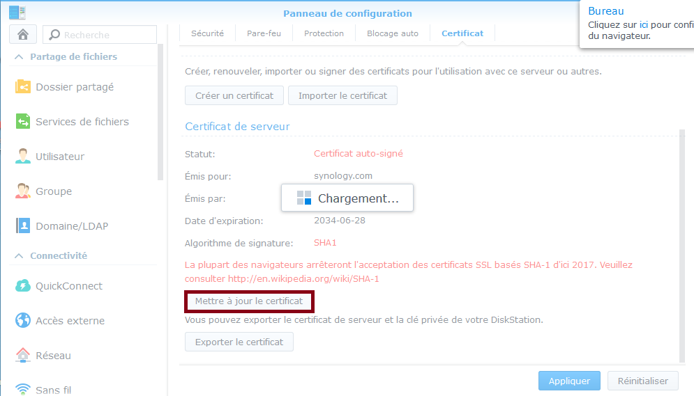 Certificat Synology